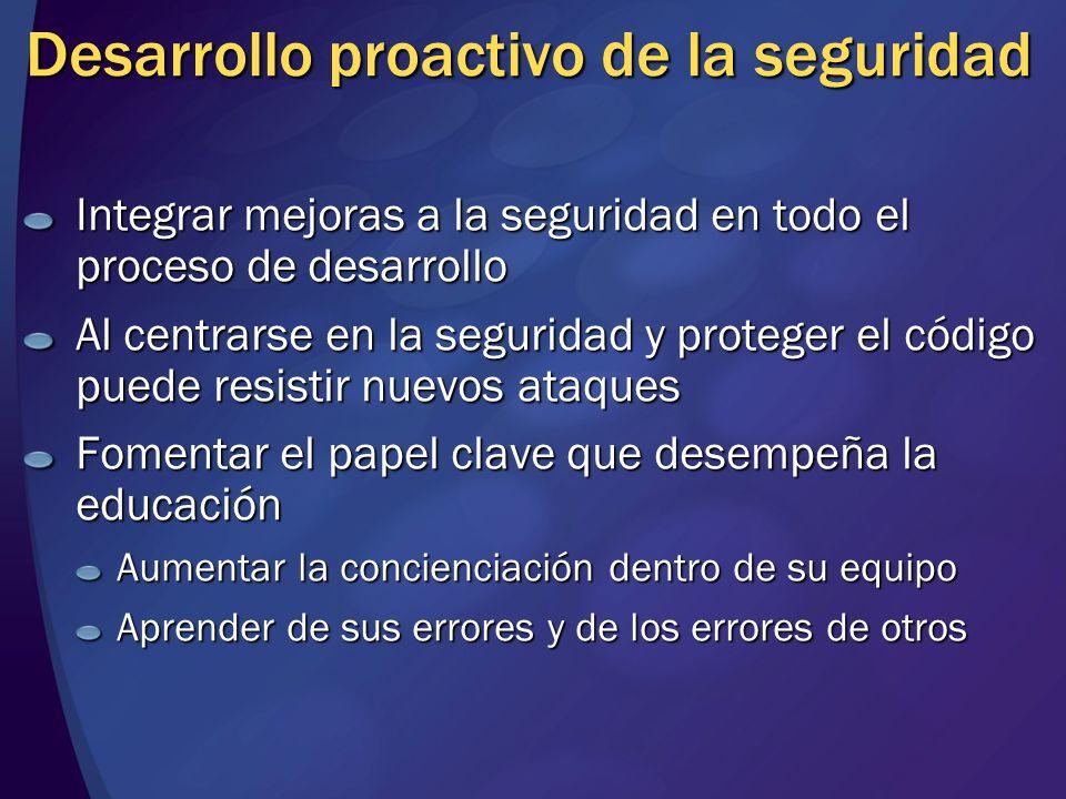 Desarrollo proactivo de la seguridad Integrar mejoras a la seguridad en todo el proceso de desarrollo Al centrarse en la seguridad y proteger el códig