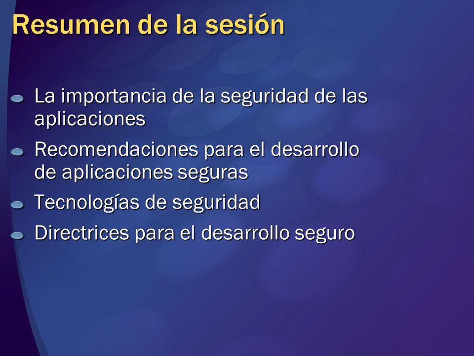 Resumen de la sesión La importancia de la seguridad de las aplicaciones Recomendaciones para el desarrollo de aplicaciones seguras Tecnologías de segu
