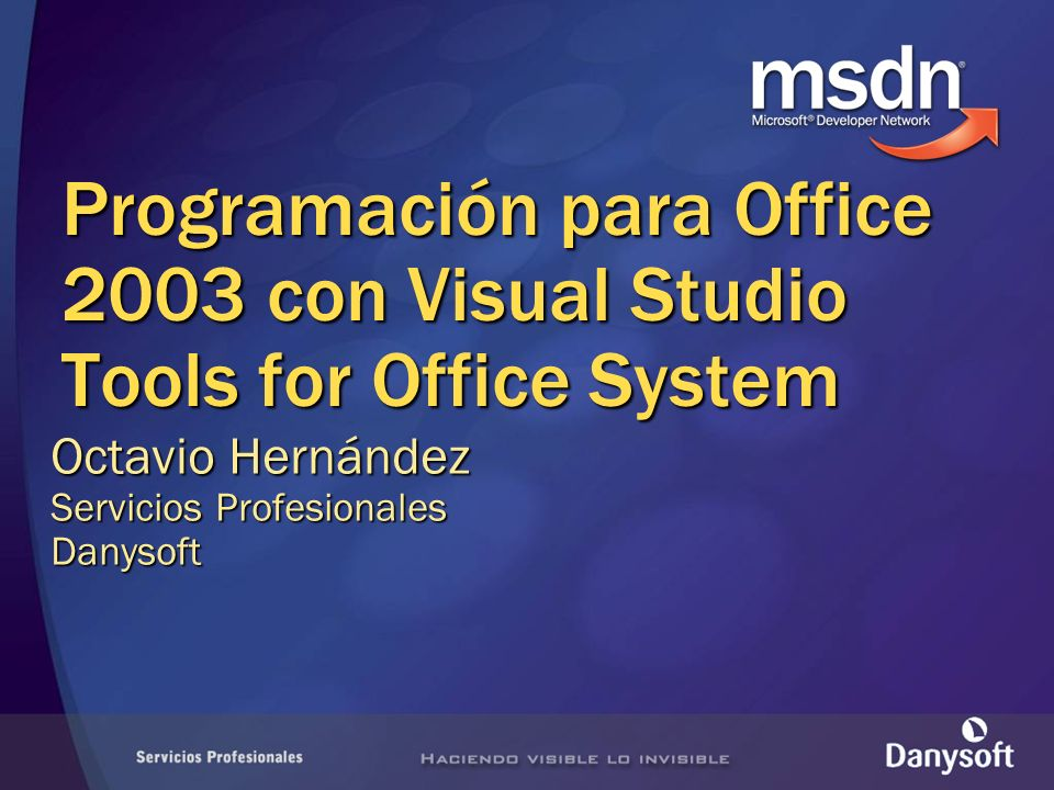 Orden del día Introducción Presentación de Visual Studio Tools for the Microsoft Office System Creación de proyectos Excel y Word Consideraciones de despliegue y seguridad Demostración práctica Conclusiones