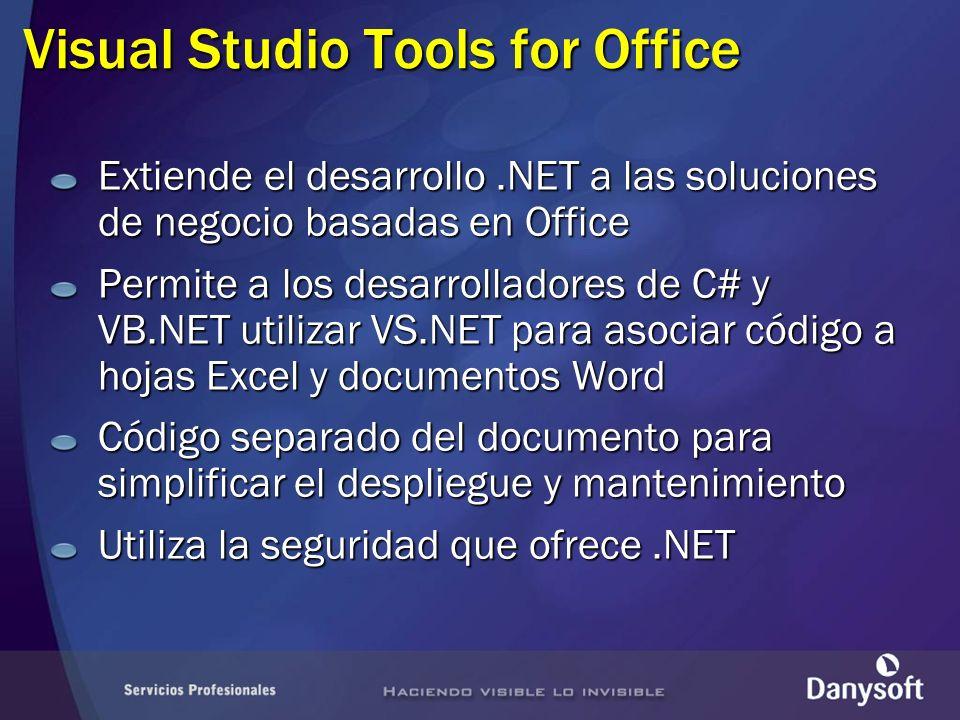 Requisitos para la instalación NET Framework v 1.1 VS.NET 2003 Profesional o superior Ayuda MSDN Microsoft Office 2003 Profesional Ensamblados primarios de interoperabilidad (P.I.A.) para Excel, Word, Forms, Graph V.S.T.O.