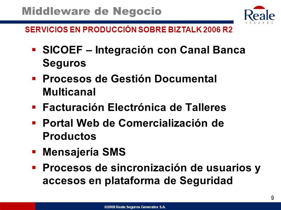 ©2008 Reale Seguros Generales S.A. Middleware de Negocio SICOEF – Integración con Canal Banca Seguros Procesos de Gestión Documental Multicanal Factur