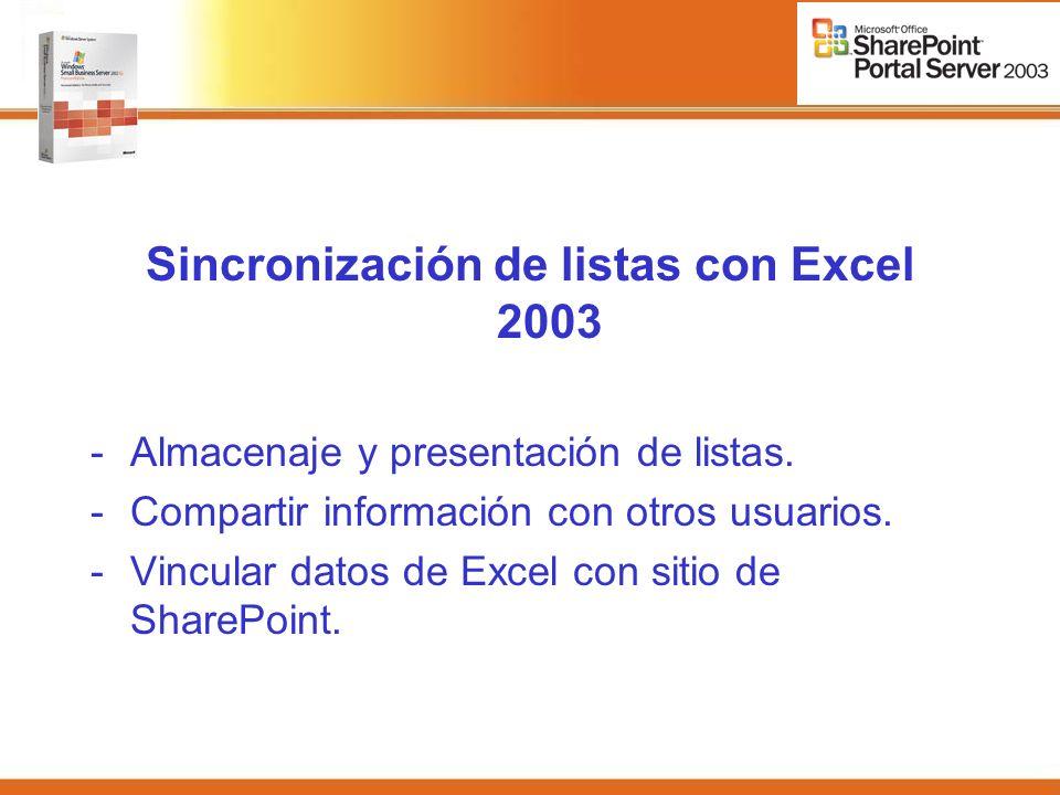 Sincronización de listas con Excel 2003 -Almacenaje y presentación de listas.