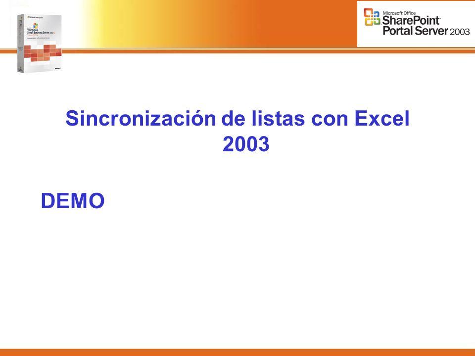Sincronización de listas con Excel 2003 DEMO