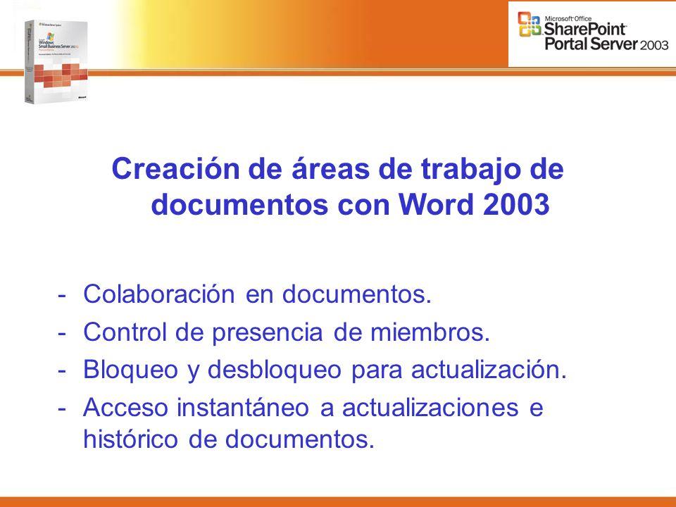 Creación de áreas de trabajo de documentos con Word 2003 -Colaboración en documentos.