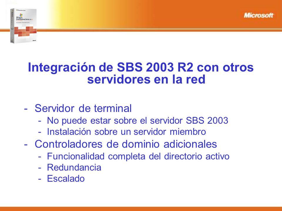 Integración de SBS 2003 R2 con otros servidores en la red -Servidor de terminal -No puede estar sobre el servidor SBS 2003 -Instalación sobre un servidor miembro -Controladores de dominio adicionales -Funcionalidad completa del directorio activo -Redundancia -Escalado