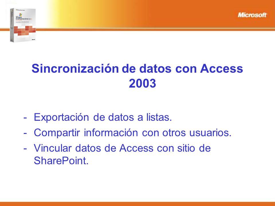 Sincronización de datos con Access 2003 -Exportación de datos a listas.