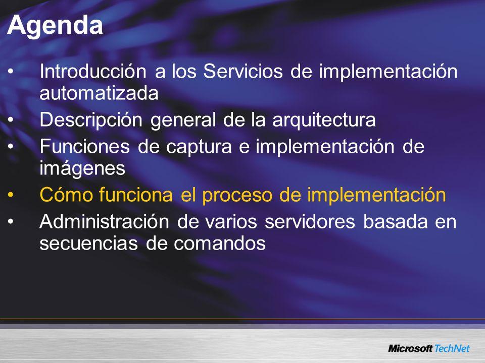 Agenda Introducción a los Servicios de implementación automatizada Descripción general de la arquitectura Funciones de captura e implementación de imágenes Cómo funciona el proceso de implementación Administración de varios servidores basada en secuencias de comandos
