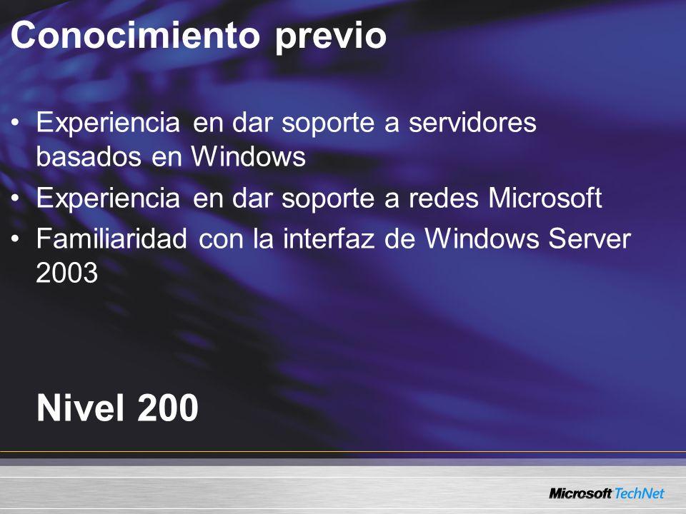 Conocimiento previo Nivel 200 Experiencia en dar soporte a servidores basados en Windows Experiencia en dar soporte a redes Microsoft Familiaridad con la interfaz de Windows Server 2003