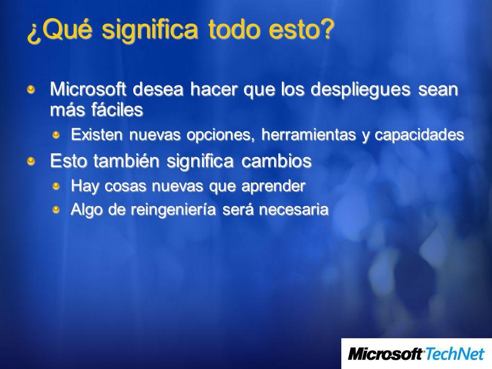 ¿Qué significa todo esto? Microsoft desea hacer que los despliegues sean más fáciles Existen nuevas opciones, herramientas y capacidades Esto también