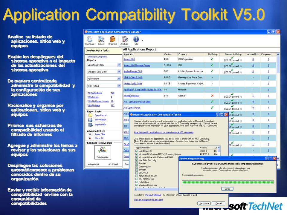 Analice su listado de aplicaciones, sitios web y equipos Evalúe los despliegues del sistema operativo o el impacto de las actualizaciones del sistema