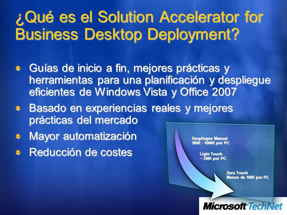Despliegue Manual 500 - 1000 por PC Light Touch ~ 350 por PC Zero Touch Menos de 100 por PC ¿Qué es el Solution Accelerator for Business Desktop Deplo