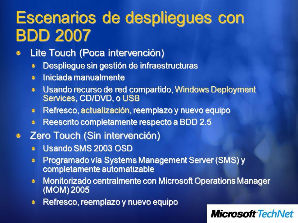 Escenarios de despliegues con BDD 2007 Lite Touch (Poca intervención) Despliegue sin gestión de infraestructuras Iniciada manualmente Usando recurso d