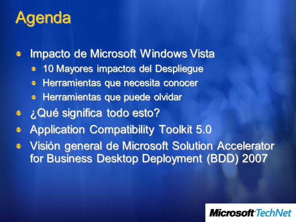 Agenda Impacto de Microsoft Windows Vista 10 Mayores impactos del Despliegue Herramientas que necesita conocer Herramientas que puede olvidar ¿Qué sig