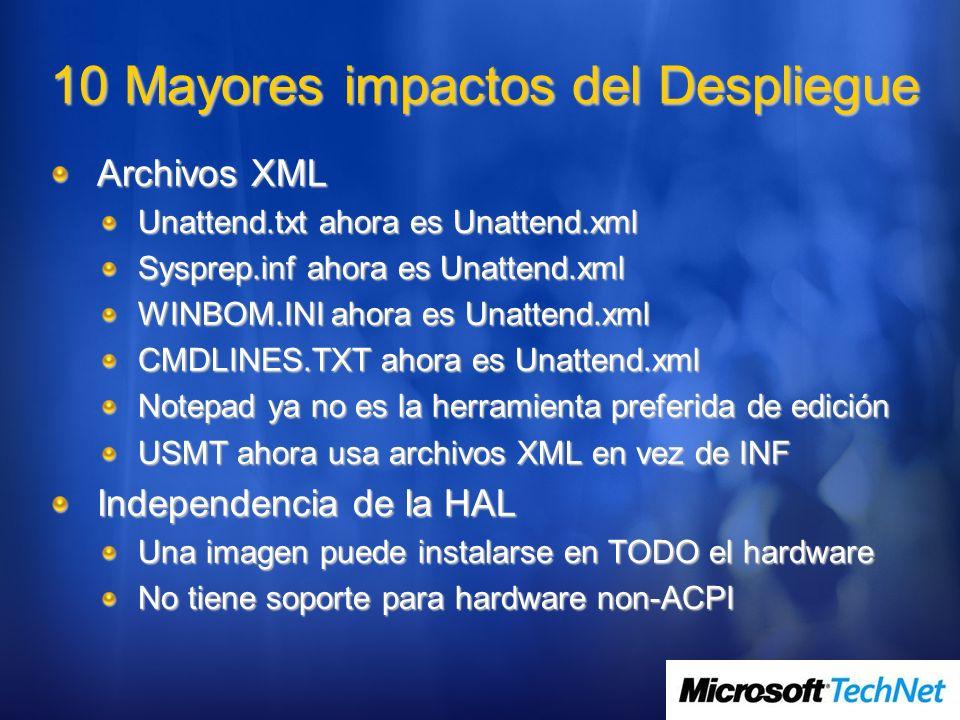 Procesos de BDD Zero Touch Diseño de Zero touch Fácil migración desde el actual BDD 2.5 Zero Touch Installation y SMS 2003 OSD Fácil migración a System Center Configuration Manager (SCCM) 2007 Habilidades mejoradas: Secuenciador de tareas integrado con SCCM 2007 (incluso con SMS 2003) Copia de seguridad completa Capacidad detallada de inyectar controladores