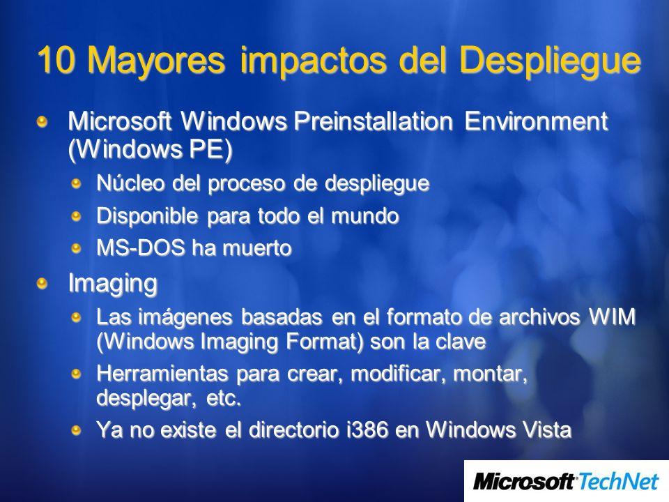 10 Mayores impactos del Despliegue Microsoft Windows Preinstallation Environment (Windows PE) Núcleo del proceso de despliegue Disponible para todo el