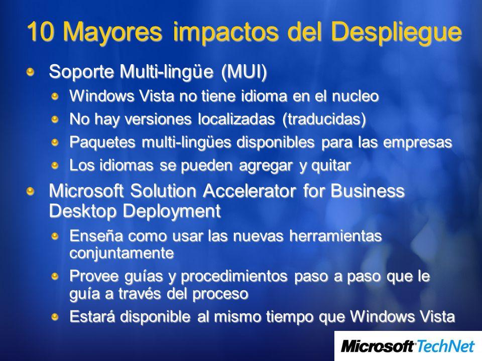10 Mayores impactos del Despliegue Soporte Multi-lingüe (MUI) Windows Vista no tiene idioma en el nucleo No hay versiones localizadas (traducidas) Paq