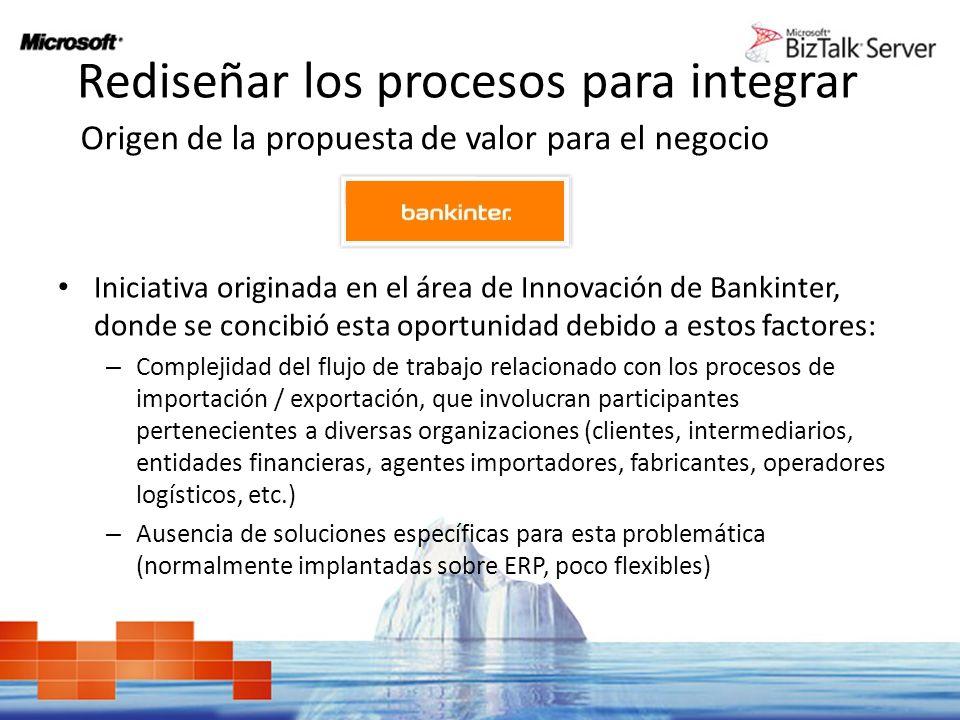 Rediseñar los procesos para integrar Iniciativa originada en el área de Innovación de Bankinter, donde se concibió esta oportunidad debido a estos fac