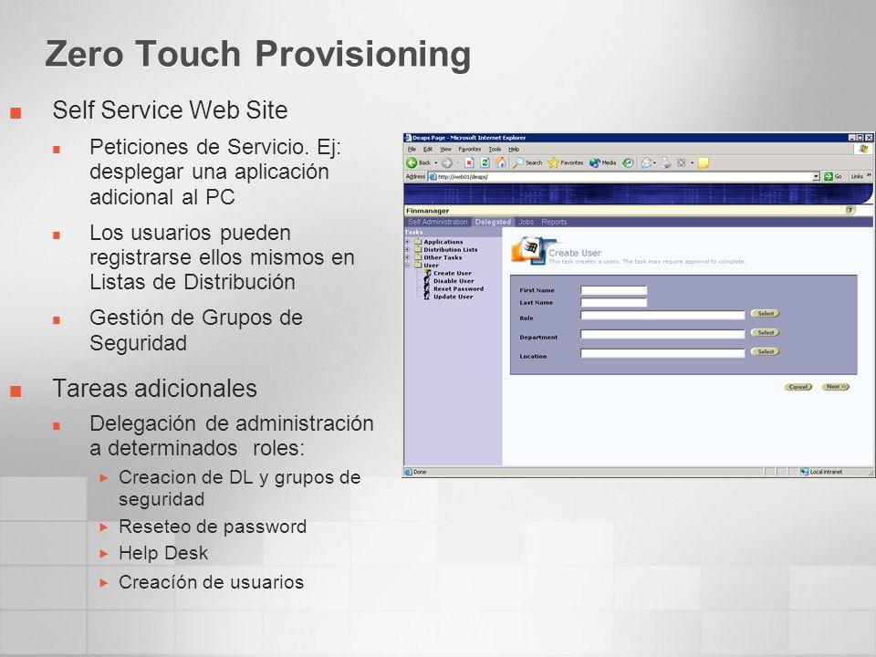 Zero Touch Provisioning Self Service Web Site Peticiones de Servicio.