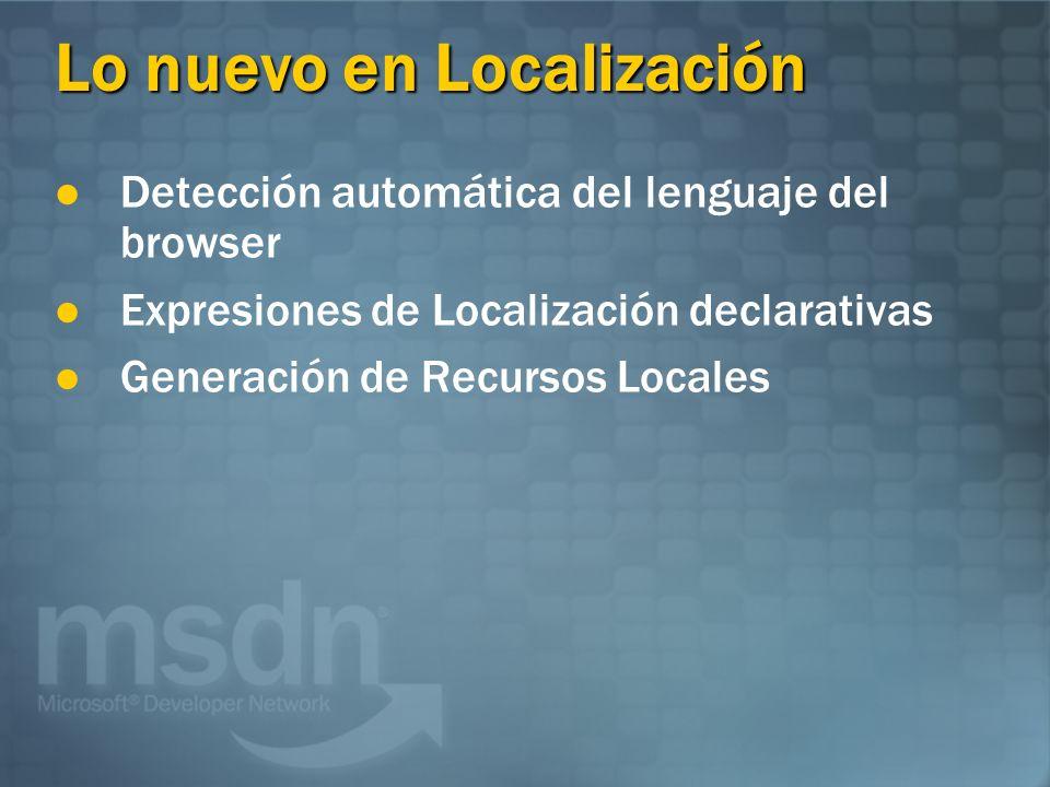 Lo nuevo en Localización Detección automática del lenguaje del browser Expresiones de Localización declarativas Generación de Recursos Locales