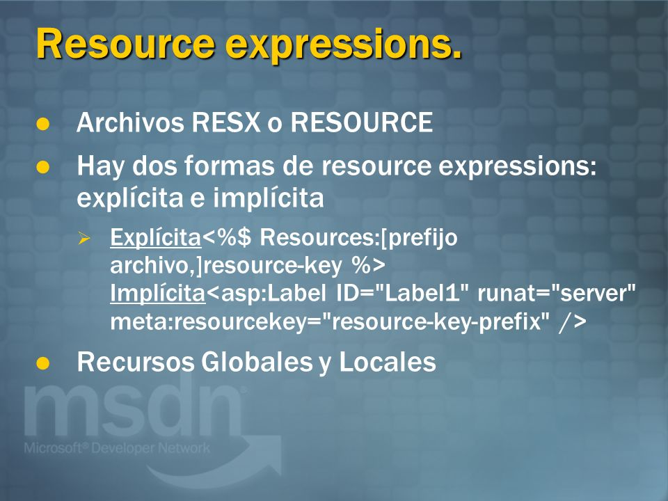 Resource expressions.