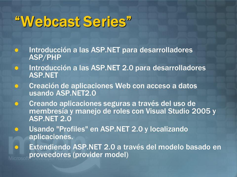 Webcast Series Introducción a las ASP.NET para desarrolladores ASP/PHP Introducción a las ASP.NET 2.0 para desarrolladores ASP.NET Creación de aplicaciones Web con acceso a datos usando ASP.NET2.0 Creando aplicaciones seguras a través del uso de membresía y manejo de roles con Visual Studio 2005 y ASP.NET 2.0 Usando Profiles en ASP.NET 2.0 y localizando aplicaciones.