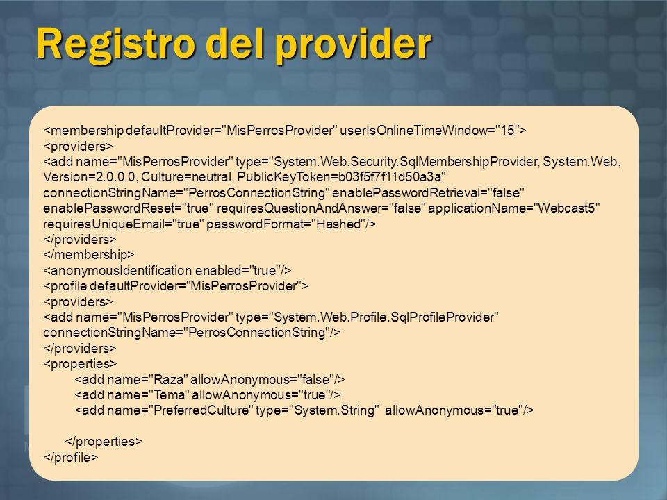 Registro del provider