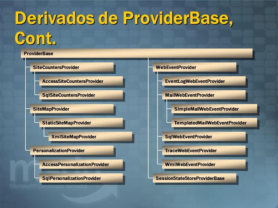 Derivados de ProviderBase, Cont.
