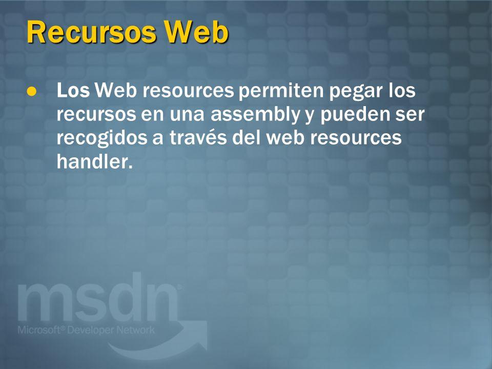 Recursos Web Los Web resources permiten pegar los recursos en una assembly y pueden ser recogidos a través del web resources handler.