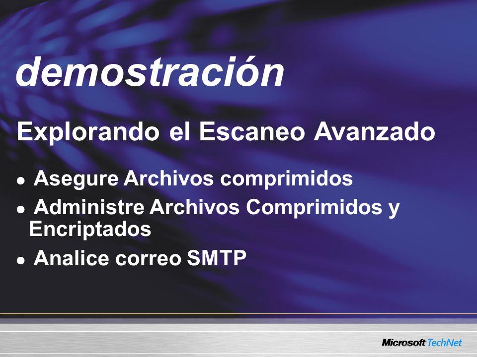 Demo Explorando el Escaneo Avanzado Asegure Archivos comprimidos Administre Archivos Comprimidos y Encriptados Analice correo SMTP demostración