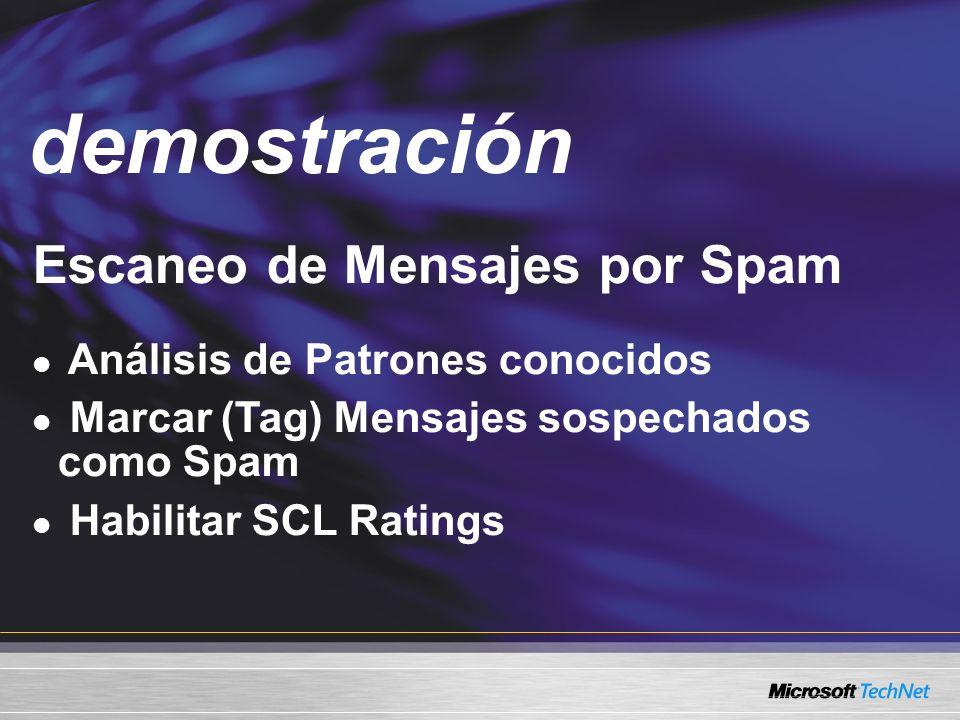 Demo Escaneo de Mensajes por Spam Análisis de Patrones conocidos Marcar (Tag) Mensajes sospechados como Spam Habilitar SCL Ratings demostración