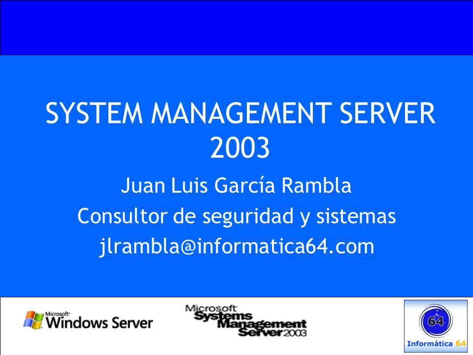 Referencias SMS 2003: –http://www.microsoft.com/spain/servidores/smserver/default.asp Web Cast SMS: –http://www.microsoft.com/smserver/support /webcastseriessummer.asp SMS SP1: –http://www.microsoft.com/smserver/downloads/2003/sp1.asp Guia de conceptos, planificación y despliegue.