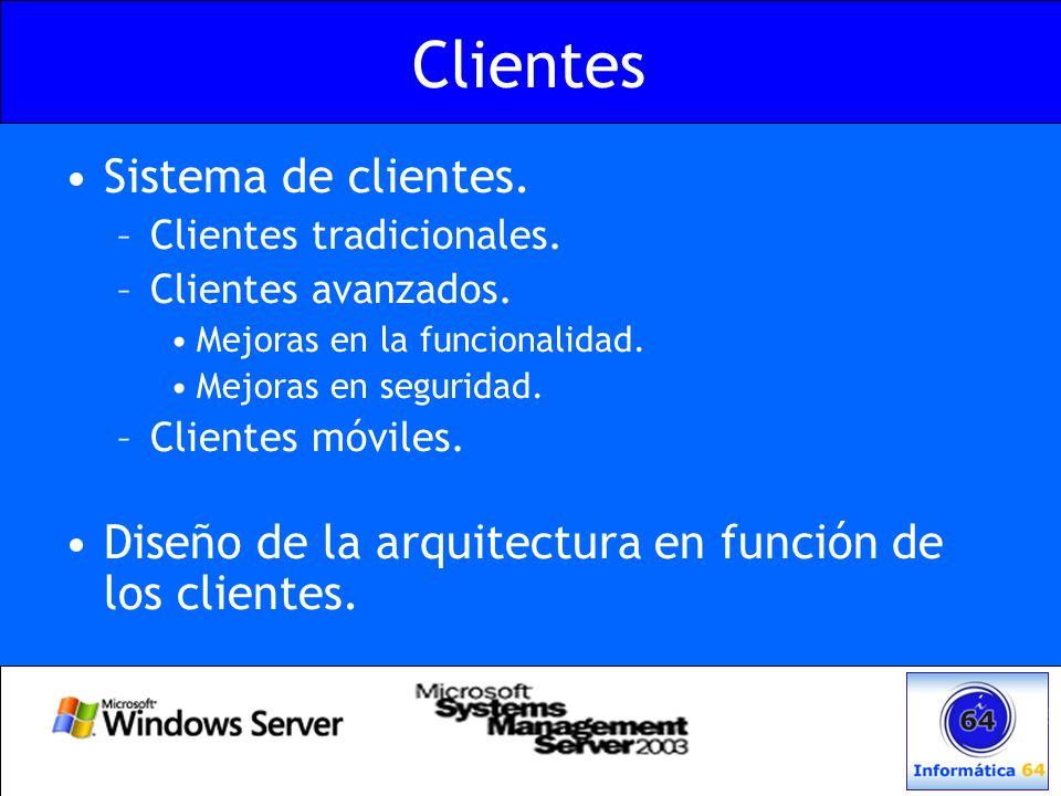 Clientes Sistema de clientes. –Clientes tradicionales. –Clientes avanzados. Mejoras en la funcionalidad. Mejoras en seguridad. –Clientes móviles. Dise