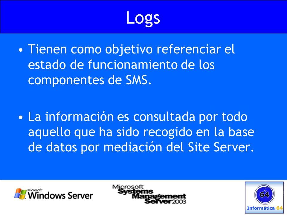 Logs Tienen como objetivo referenciar el estado de funcionamiento de los componentes de SMS. La información es consultada por todo aquello que ha sido