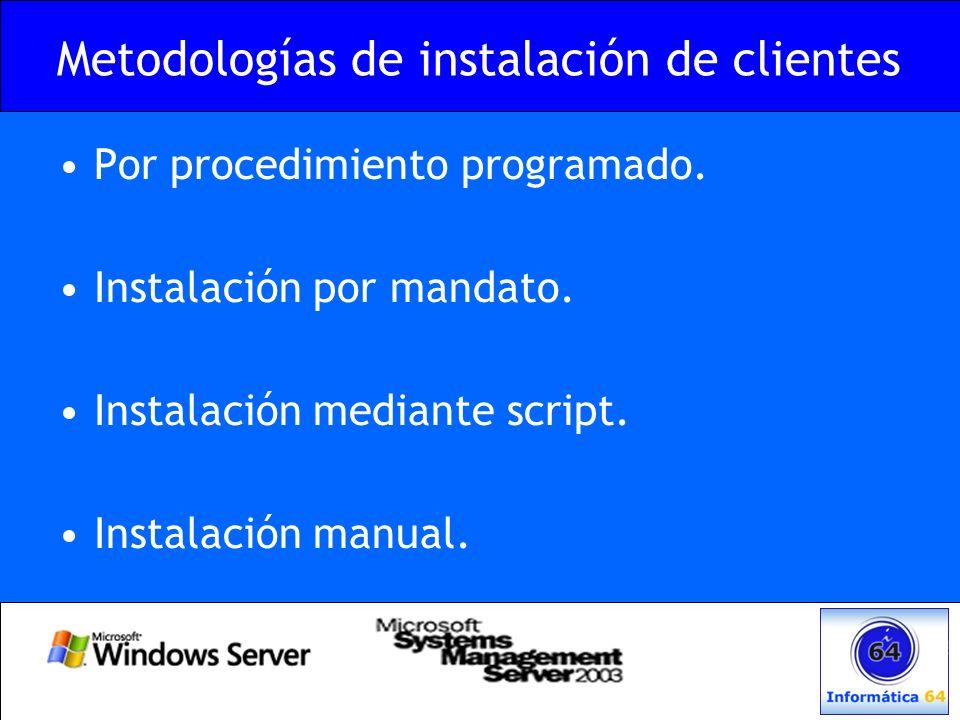 Metodologías de instalación de clientes Por procedimiento programado. Instalación por mandato. Instalación mediante script. Instalación manual.