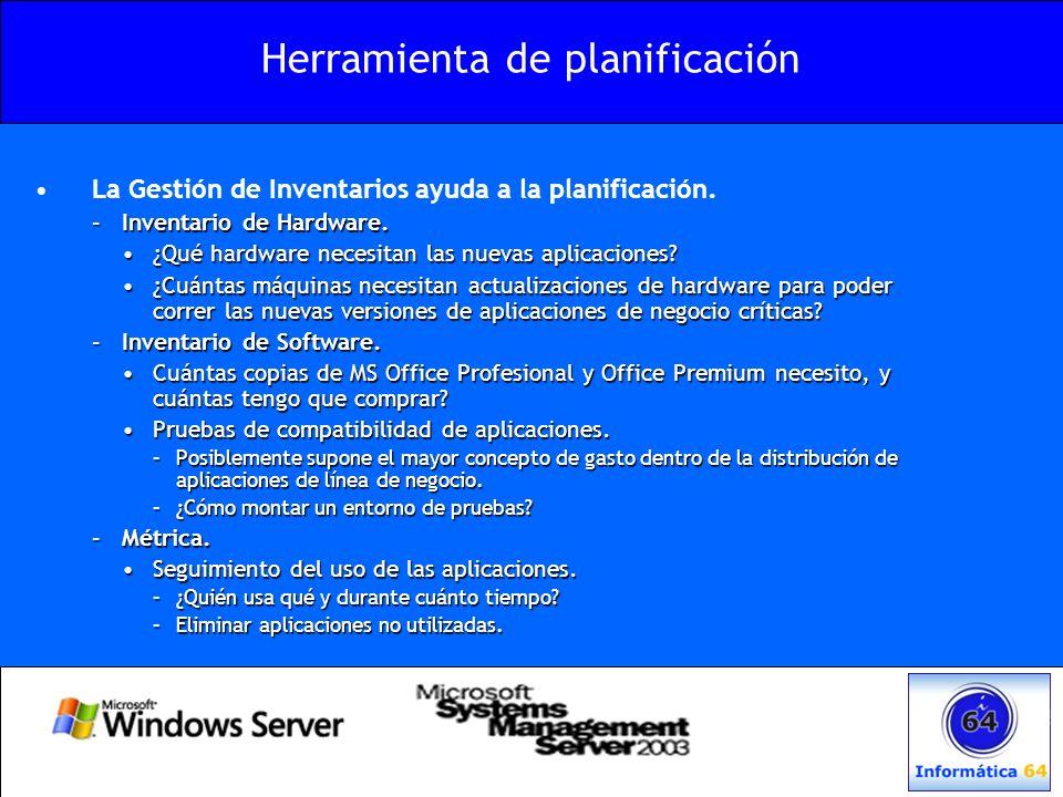 Herramienta de planificación La Gestión de Inventarios ayuda a la planificación. –Inventario de Hardware. ¿Qué hardware necesitan las nuevas aplicacio