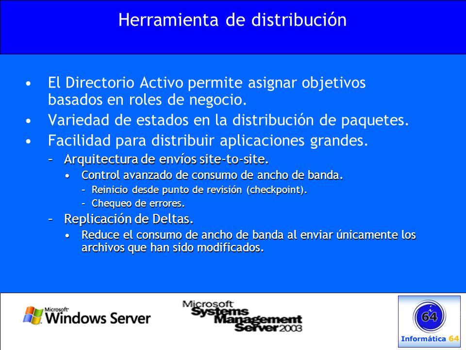 Herramienta de distribución El Directorio Activo permite asignar objetivos basados en roles de negocio. Variedad de estados en la distribución de paqu