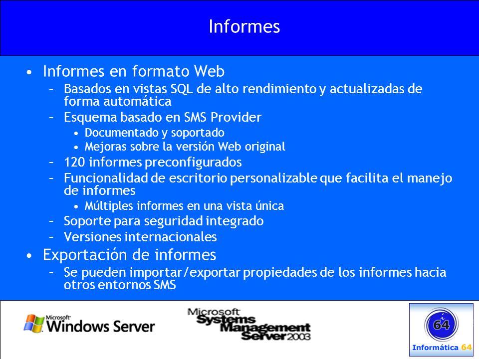 Informes Informes en formato Web –Basados en vistas SQL de alto rendimiento y actualizadas de forma automática –Esquema basado en SMS Provider Documen