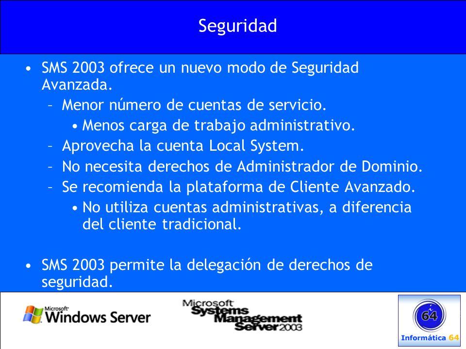 Seguridad SMS 2003 ofrece un nuevo modo de Seguridad Avanzada. –Menor número de cuentas de servicio. Menos carga de trabajo administrativo. –Aprovecha