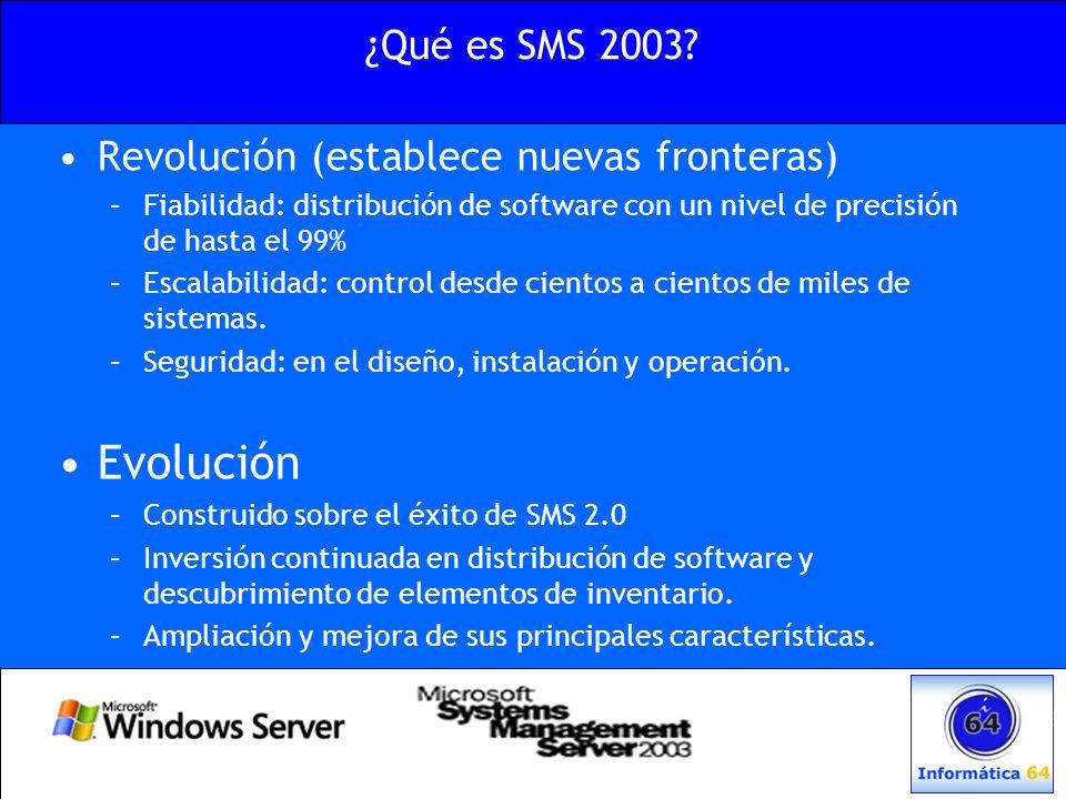 Funcionalidades de SMS 2003 Distribución de aplicaciones Gestión de inventario Gestión de parches de seguridad Uso intensivo de Windows Management Services Soporte para usuarios móviles