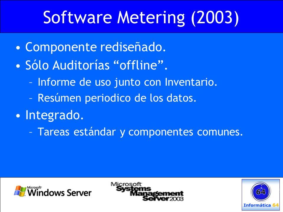 Software Metering (2003) Componente rediseñado. Sólo Auditorías offline. –Informe de uso junto con Inventario. –Resúmen periodico de los datos. Integr