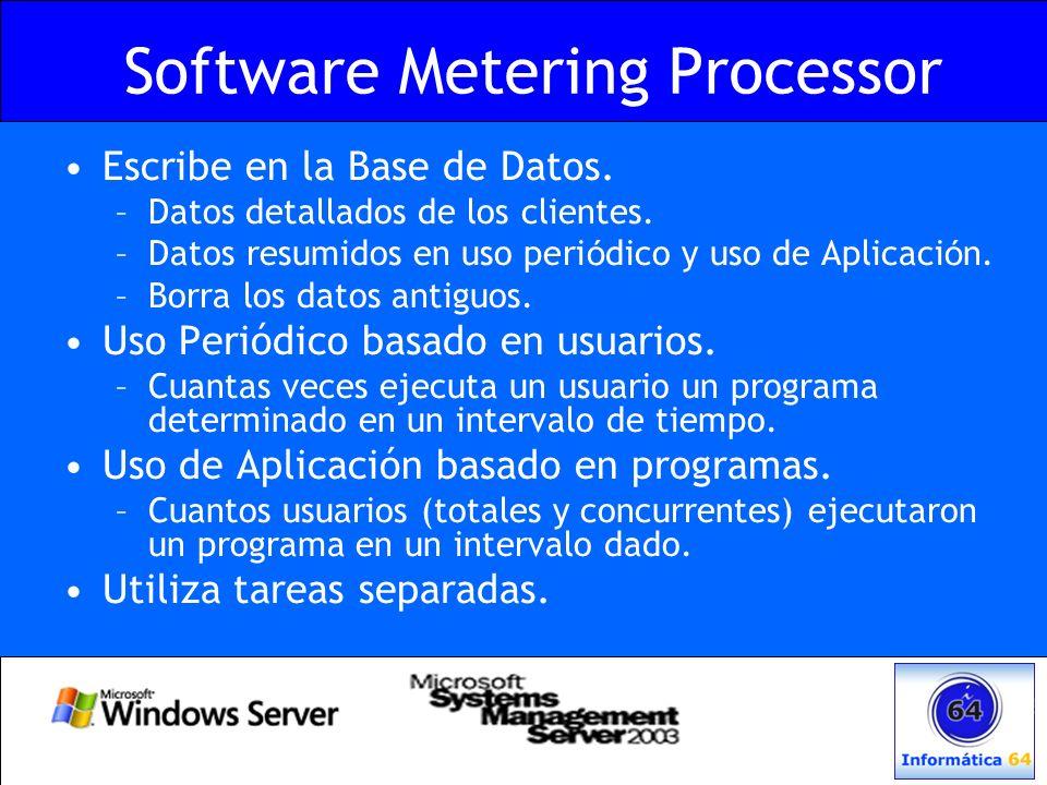 Software Metering Processor Escribe en la Base de Datos. –Datos detallados de los clientes. –Datos resumidos en uso peri ó dico y uso de Aplicaci ó n.
