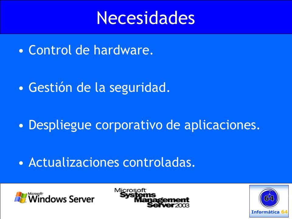 Necesidades Control de hardware. Gestión de la seguridad. Despliegue corporativo de aplicaciones. Actualizaciones controladas.