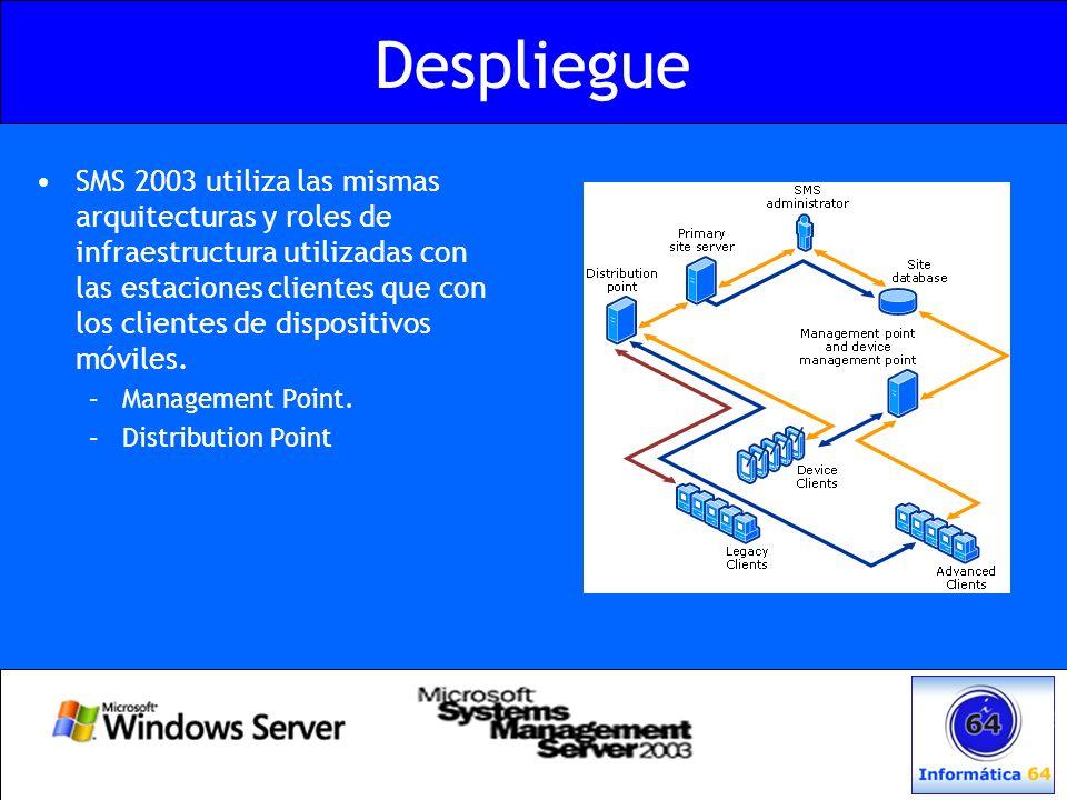 Despliegue SMS 2003 utiliza las mismas arquitecturas y roles de infraestructura utilizadas con las estaciones clientes que con los clientes de disposi