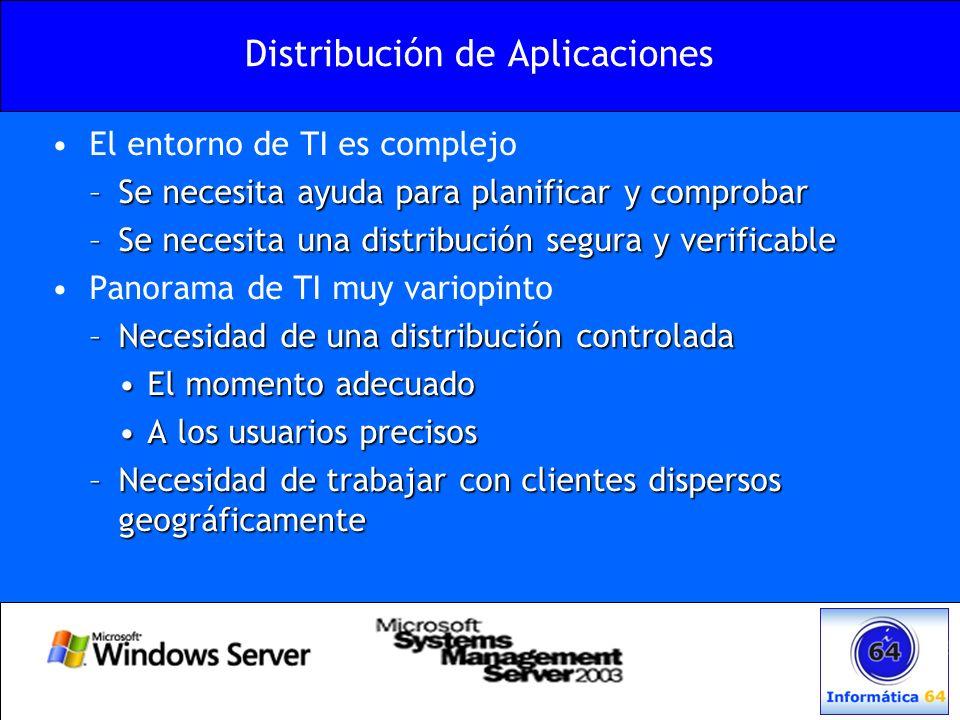 Distribución de Aplicaciones El entorno de TI es complejo –Se necesita ayuda para planificar y comprobar –Se necesita una distribución segura y verifi