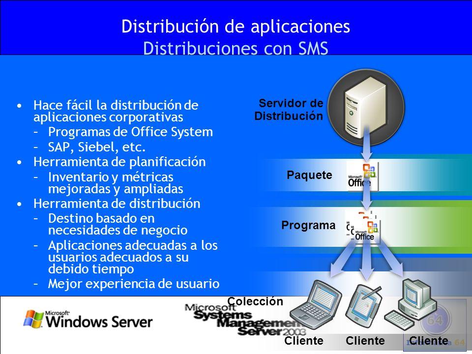 Distribución de aplicaciones Distribuciones con SMS Hace fácil la distribución de aplicaciones corporativas –Programas de Office System –SAP, Siebel,
