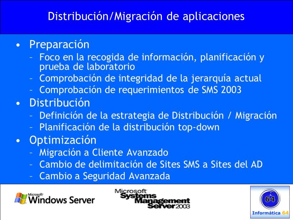 Distribución/Migración de aplicaciones Preparación –Foco en la recogida de información, planificación y prueba de laboratorio –Comprobación de integri