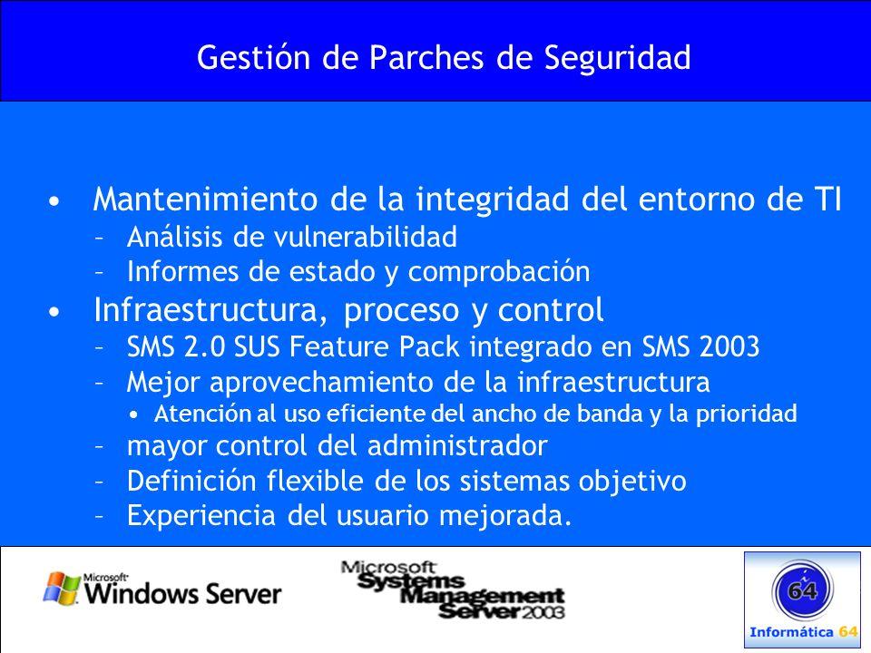 Mantenimiento de la integridad del entorno de TI –Análisis de vulnerabilidad –Informes de estado y comprobación Infraestructura, proceso y control –SM