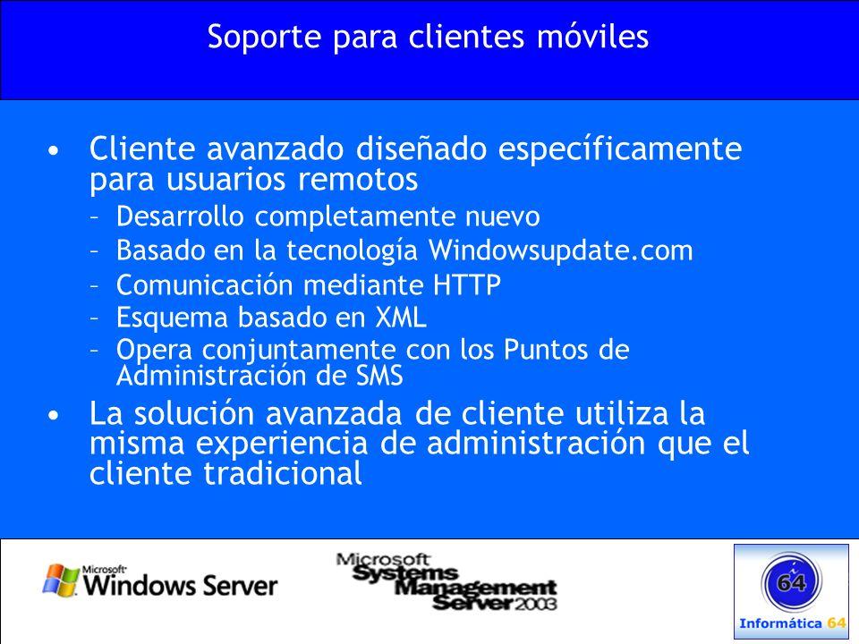 Cliente avanzado diseñado específicamente para usuarios remotos –Desarrollo completamente nuevo –Basado en la tecnología Windowsupdate.com –Comunicaci
