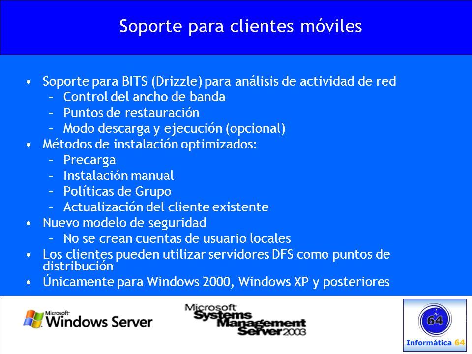 Soporte para BITS (Drizzle) para análisis de actividad de red –Control del ancho de banda –Puntos de restauración –Modo descarga y ejecución (opcional
