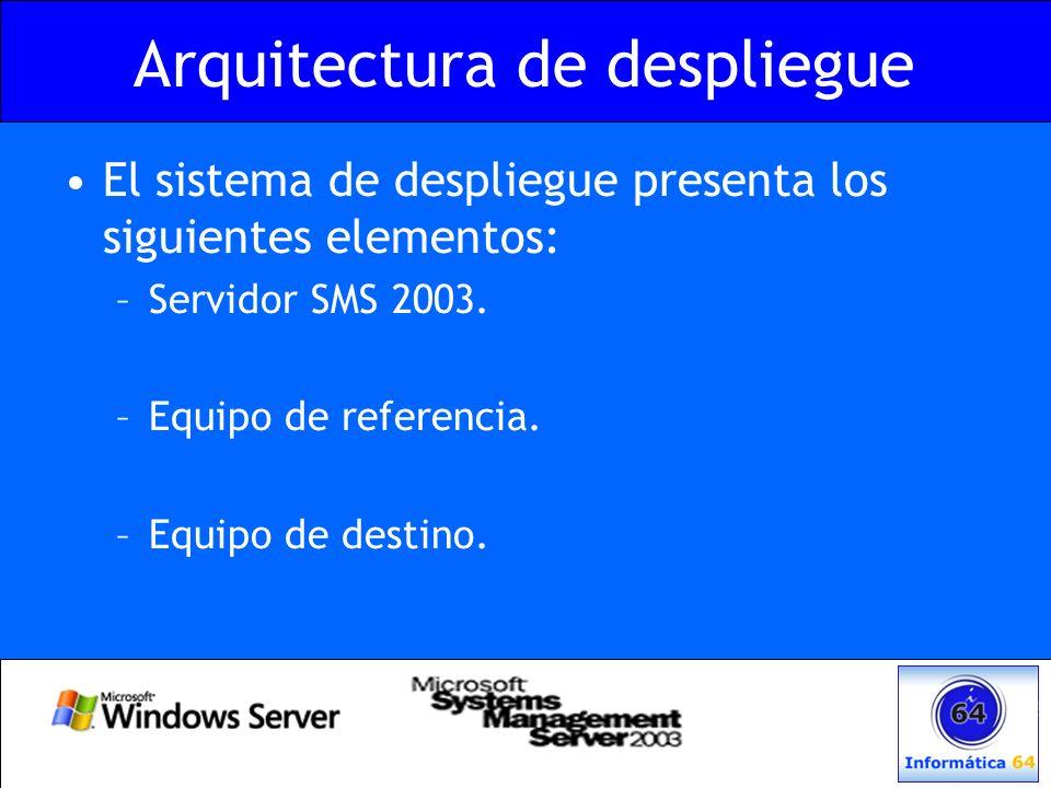 Arquitectura de despliegue El sistema de despliegue presenta los siguientes elementos: –Servidor SMS 2003. –Equipo de referencia. –Equipo de destino.